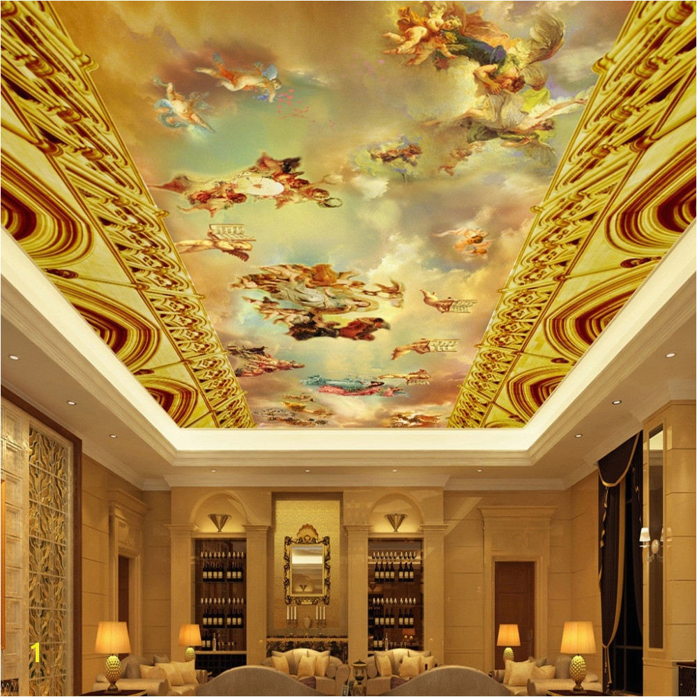 Custom Wall Mural Wallpaper European Style Classic People Oil Painting Hotel Living Room Ceiling Fresco 3D