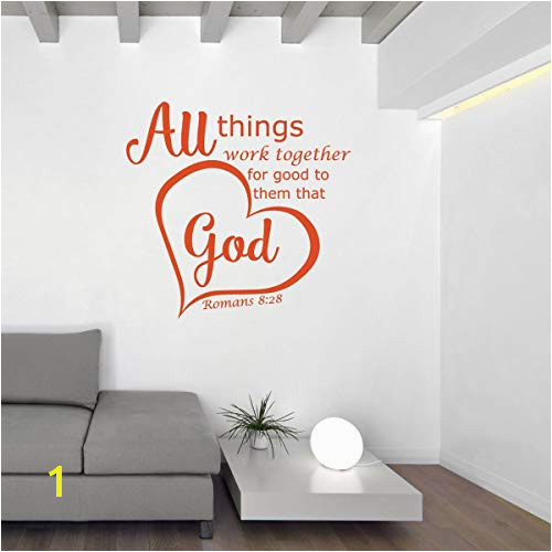 Christian Decor Bible Verse Wall Decals Romans 8 28 All Things Work To her For Good To Them That Love God Vinyl Sticker Art for Home or Church