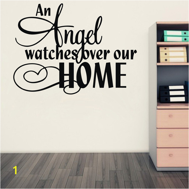 Amazon hot an angel watches over our home Vinyl Wall Art Quote stickers Religious decals home decor free shipping q0006