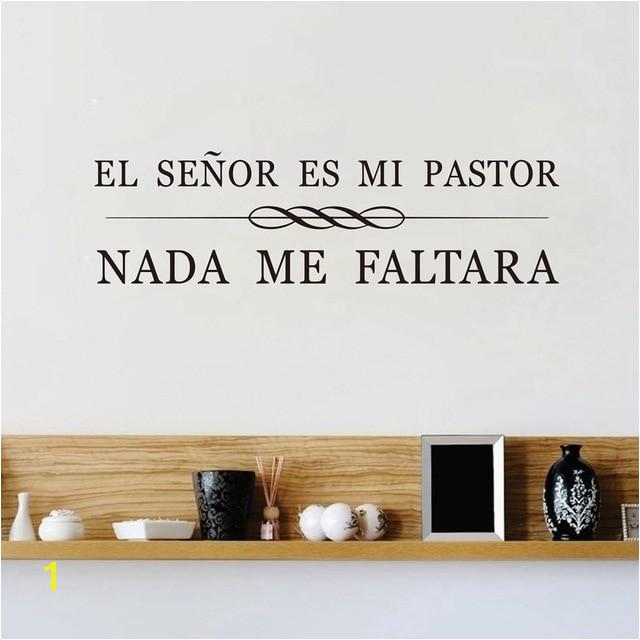 Spanish Christian Quotes Vinyl Wall Stickers El Senor es mi pastor Mural Decals Removable Art Vinilos Pegatinas Home Decoration