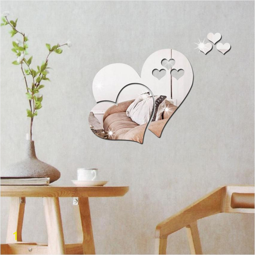 Removable Wall Murals for Cheap 2018 3d Mirror Love Hearts Wall Sticker Decal Diy Home Room Art