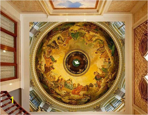 Custom Any Size 3D Wall Ceiling Murals Wallpaper Mural Renaissance Painting Ceiling Murals Wallpaper Blue Wallpaper Bollywood Actress Wallpaper From