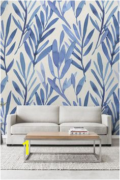 Wall mural with blue watercolor leaves Temporary wall mural Watercolor wall mural Peel and stick wall mural