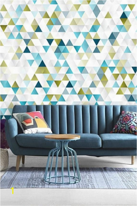 abstract geometric wallpaper self adhesive wallpaper colorful triangle wall decal contemporary repositionable wall mural peel&stick 12