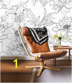 Black and White Floral Wall Mural Self Adhesive Fabric Wallpaper Removable Repositionable Reusable EASY PEEL & STICK R0030