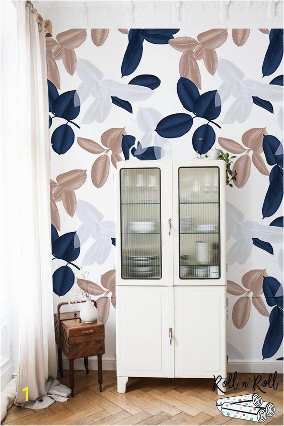 Leaf wall art Removable wallpaper Leaves wall mural Leaf wall decor Pastel