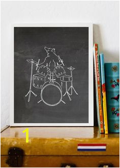 Items similar to Bear Drummer Print Rock n Roll Bear Instant printable chalkboard nursery art kids room band room drummer print