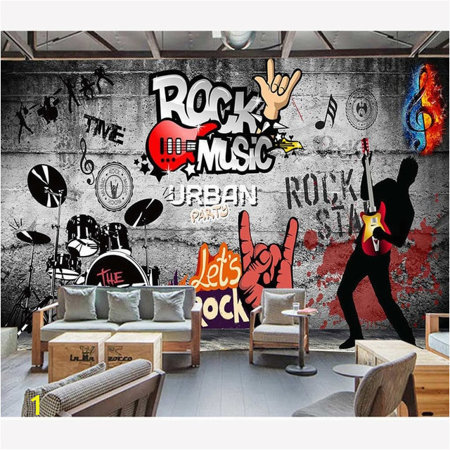 Modern Wall Papers Rock Music Background Papier Peint Mural 3D KTV Bar Decor Papel De Parede Self Adhesive Vinyl Silk Wallpaper