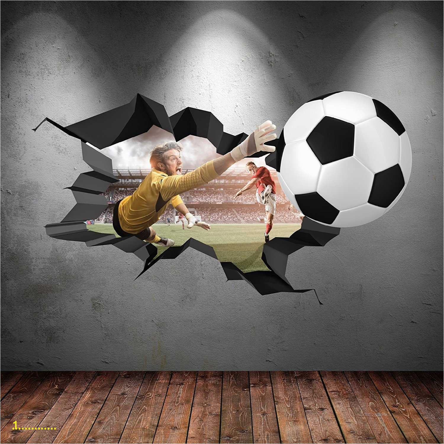soccer wall murals 3D FOOTBALL FULL COLOUR CRACKED GOAL Wall Art stickers Decal Boys Graphic