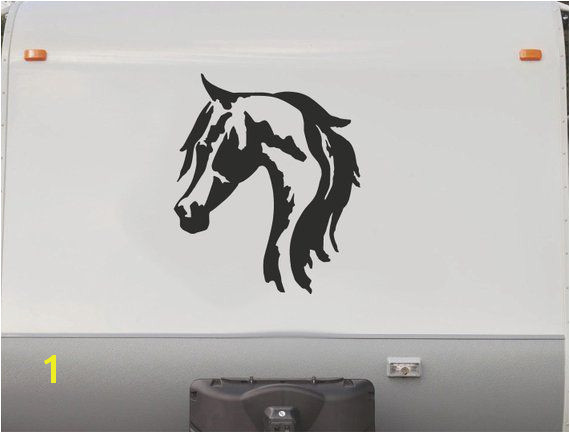 Equestrian Horse horseback Riding Trailer Camping RV Camper Vinyl Decal Sticker Graphic Mural HT202