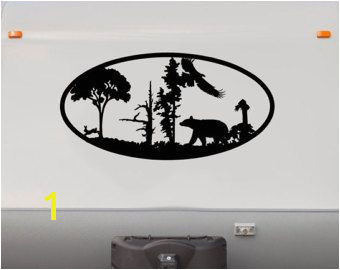 Bear Forest Mountains RV Camper Vinyl Decal Sticker Graphic Custom Text Mural RV04