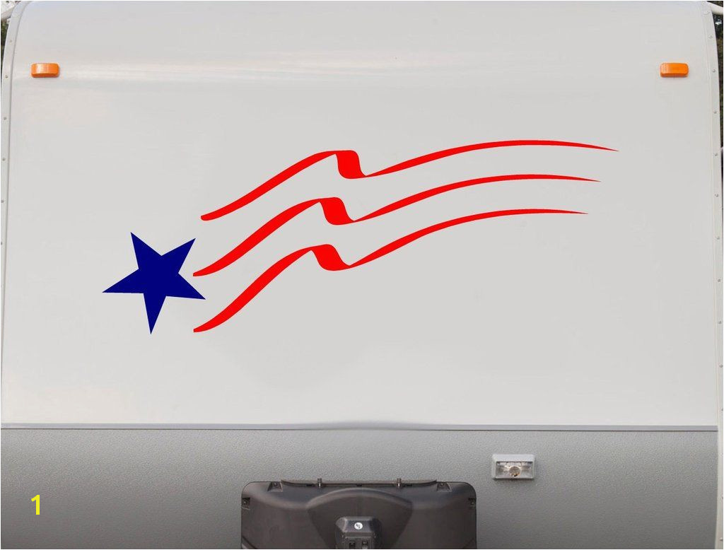 Flag Stars and Stripes RV Camper 5th Wheel Motorhome Vinyl Decal Sticker Graphic Custom Text Mural us007