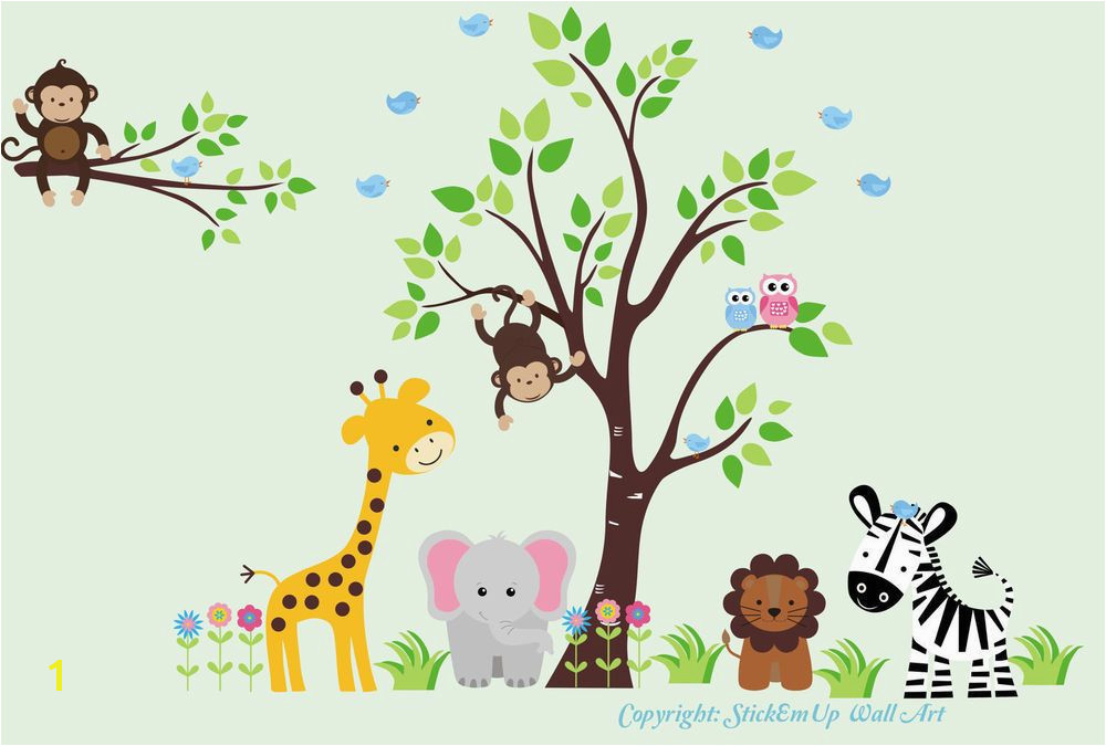 "Jungle Safari Animals Repositionable Reusable Wall Decal Baby Nursery 83"" x 125"""