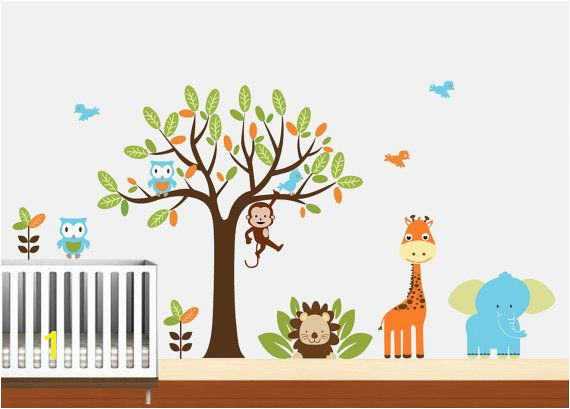 Kids Vinyl Wall Decal Safari Animal Wall Art by NurseryWallArt $99 99