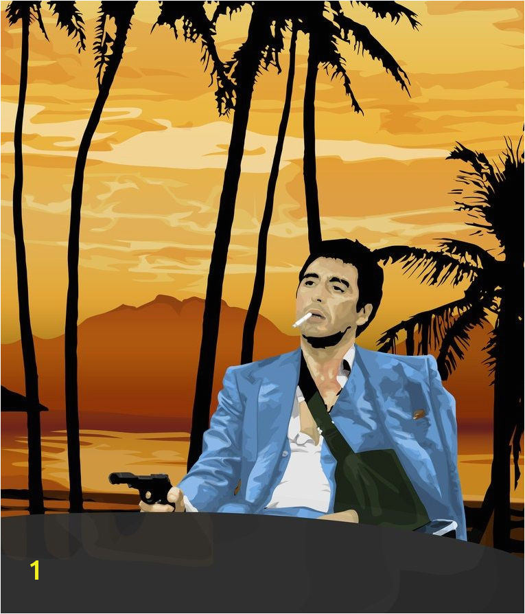 Scarface Wall Mural Scarface tony Montana Pointing A Gun at Frank Lopez after the