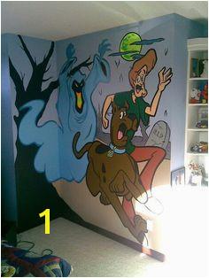 Glow on the dark scooby doo mural
