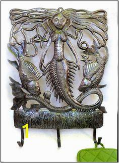 Mermaid and Fish Metal Towel Hook Bathroom Wall Hook Haitian Metal Art