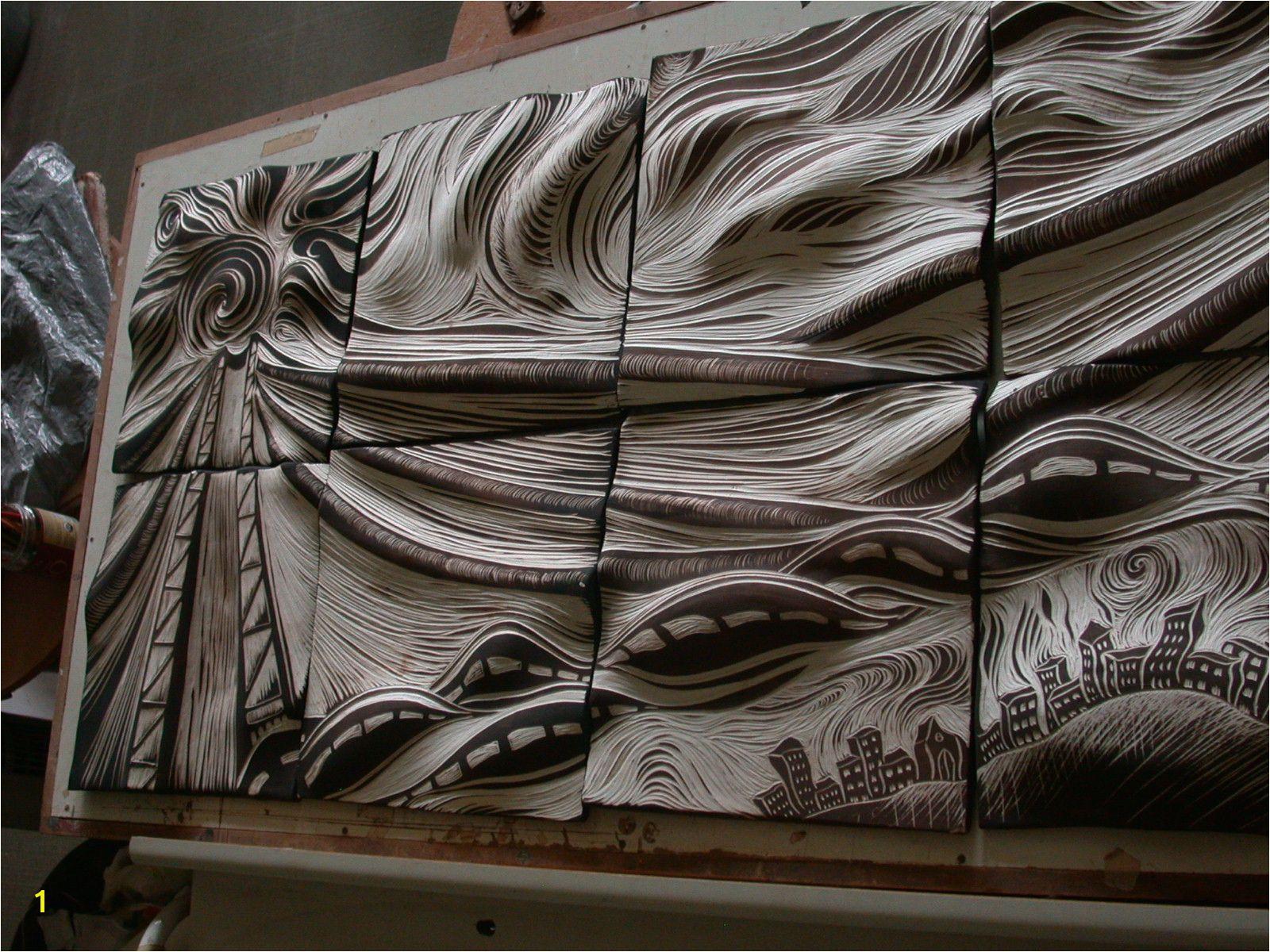 carved ceramic tile
