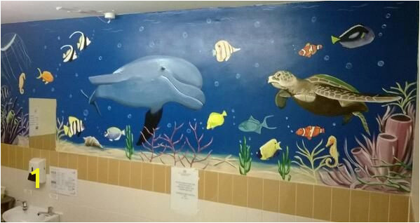 Sealife mural in nursing home bathroom