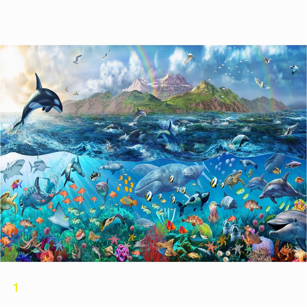 Rainbow Tropical Underwater Ocean Sea Life Wallpaper Mural Giant Wall 1000x1000