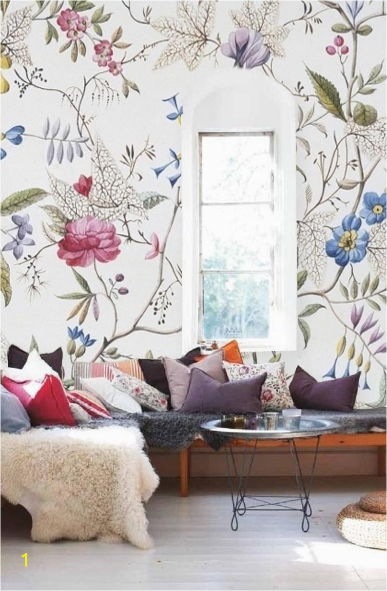 Self Stick Wall Murals Floral Wallpaper Old Painting Plants Mural Self Adhesive