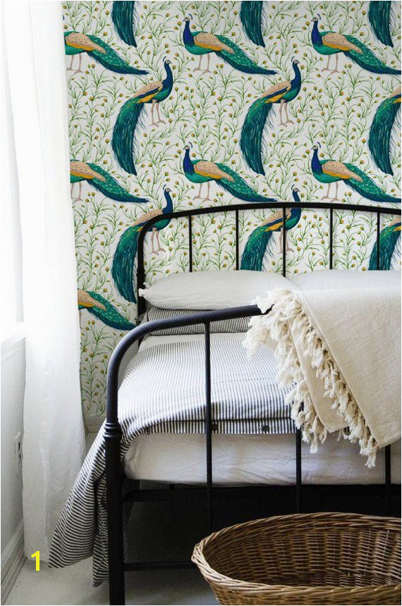 Peacock removable Wallpaper traditional green Print wall mural Self Adhesive Wall Decal Temp