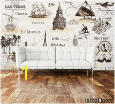 White Brick Wall Sepia Drawings Travel Holiday Boats Cities Living Room Art Wall Murals Wallpaper Decals Prints Decor