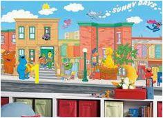 York Wallcoverings RoomMates Sesame Street Chair Rail Prepasted Mural Multi Home Decor Wallpaper Murals
