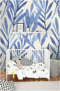 nursery decor nursery wallpaper Wall mural with blue watercolor leaves Temporary wall mural