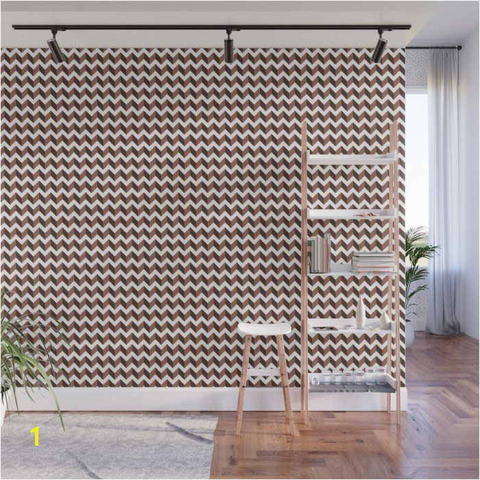 Brown Inspired by Sherwin Williams color of the year for 2019 Cavern Clay Horizontal Zigzag Chevron Pattern on White No Mess Removable Wall Murals