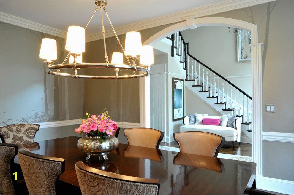 sherwin williams silvermist for a transitional dining room with a wall murals and ny estate by a perfect placement