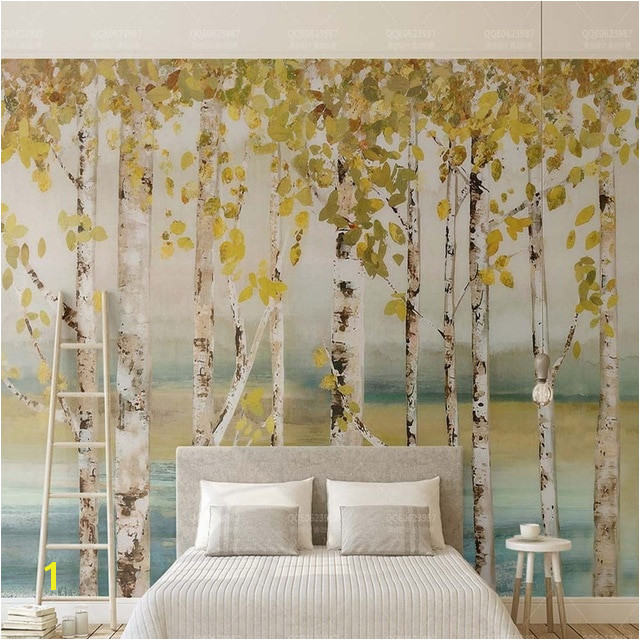 3D 5D 8D Europe Silver birch Tree Wallpaper Mural Living Room TV Background Decor Custom Scenery Embossed Nature Murals Canvas