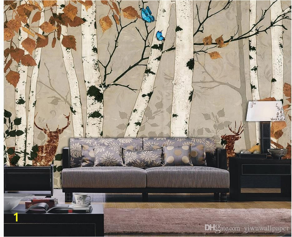 Custom Any Size White Birch Retro Wall Mural 3d Wallpaper 3d Wall Papers for Tv Backdrop