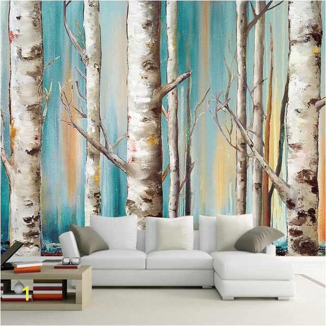 Custom Wall Cloth White Birch Trees Abstract Art Oil Painting Living Room Bedroom Decor Mural Waterproof Wallpaper Wall Covering