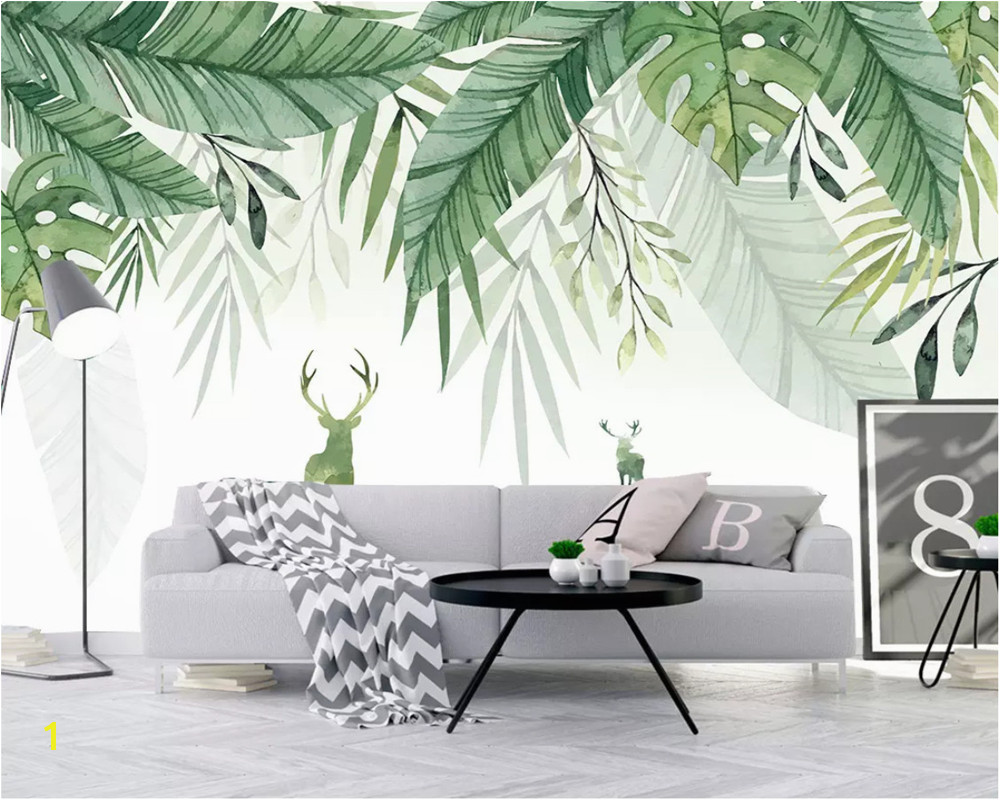 Beibehang Custom Any Size 3D Wall Mural Wallpaper Small fresh elk green leaves watercolor background wall wallpaper for walls 3d in Wallpapers from Home