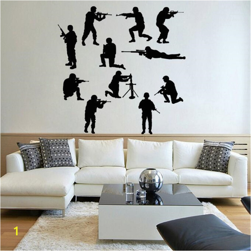 IDFIAF Military Army Sol r Wall Sticker Guns Wall Decal War Industry Boys Bedroom Decoration Wall Mural Military arms in Wall Stickers from Home & Garden