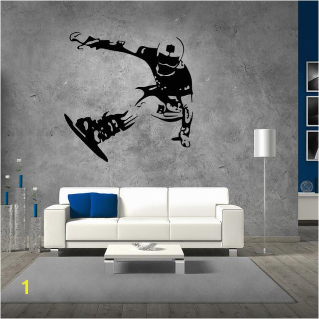 Skating Bord T Wandaufkleber Jungen Schlafzimmer Hintergrund Wandtattoos Snowboard Skifahren Tapete Wohnkultur Wandkunst Wand Poster