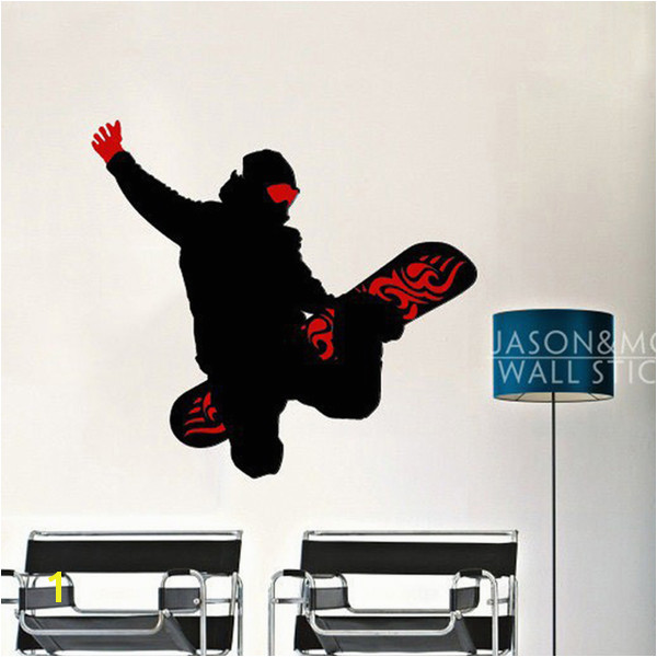 rt wall sticker Cool Skateboard Snowboard Sports Man Art Wall Sticker Decals Mural Wallpaper Vinyl Boys Room 60x65cm Home Decoration Chri