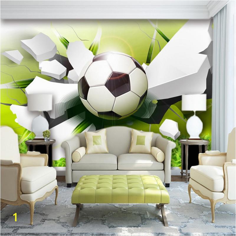 Custom Wall Mural Wallpaper Modern 3D Stereoscopic Football Broken Wall Living Room Sofa Background 3D