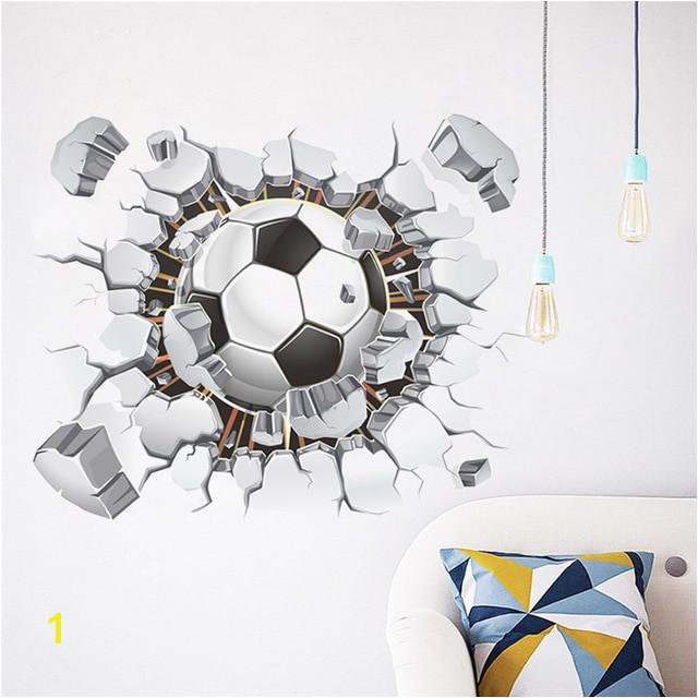 Broken Wall Football 3d Vivid Wall Stickers For Kids Rooms Home Decor Art Pvc Wallpaper Diy