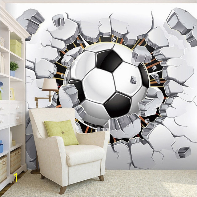 Custom Wall Mural Wallpaper 3D Soccer Sport Creative Art Wall Painting LivingRoom Bedroom TV Background Wallpaper Football in Wallpapers from Home
