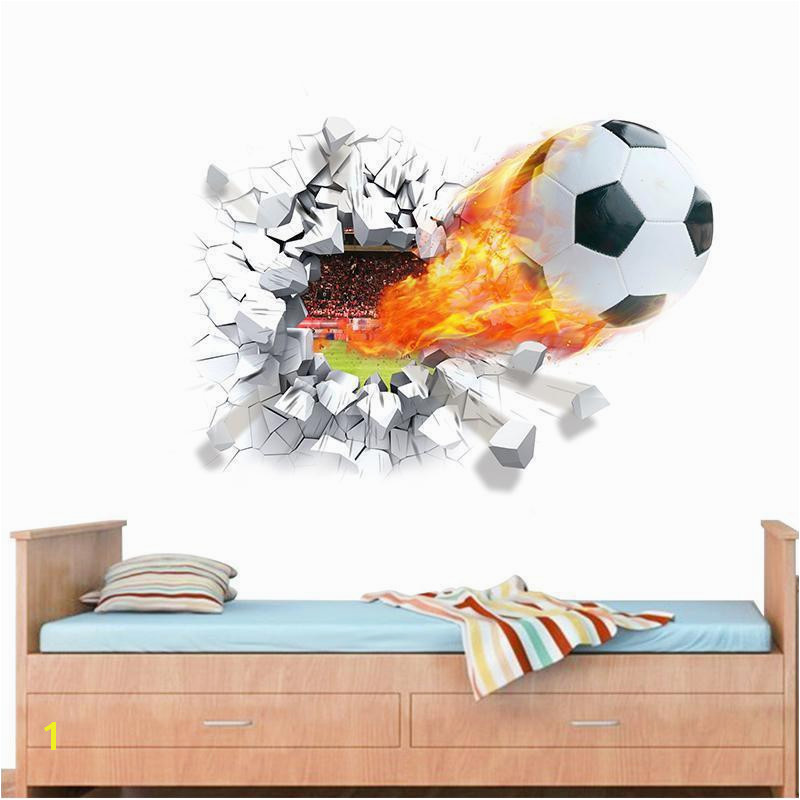 Firing Football Through Wall Stickers For Kids Room Decoration Home Decals Soccer Funs 3d Mural Art Sport Game Pvc Poster D Removable Wallpaper