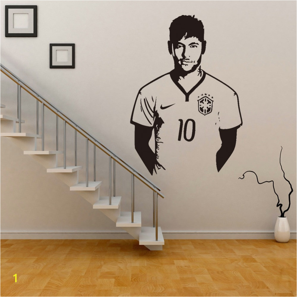 Neymar Junior Soccer Wall Sticker Sports Football Player Wall Decal For Boys Room Decor Barcelona Poster Barca Wallpaper in Wall Stickers from Home & Garden