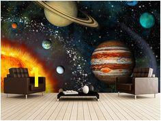 3D Solar System wall mural room setting Solar System Room Solar System Painting Outer