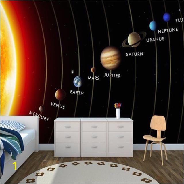 Angepasst 3D Wandbild Kinder Tapete Solar System Planeten Wandbild Wohnzimmer kinder Schlafzimmer Wand Papier TV Sofa