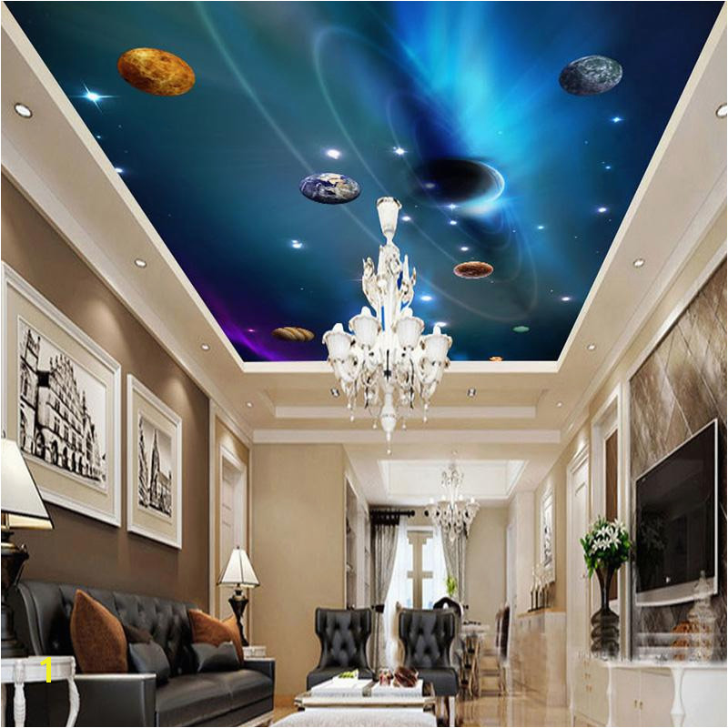 Custom 3D Ceiling Wallpaper Mural Space Solar System Planet Bedroom Ceiling Background Wall Living Room Wall Paper Wall Painting Hd Wallpapers With High