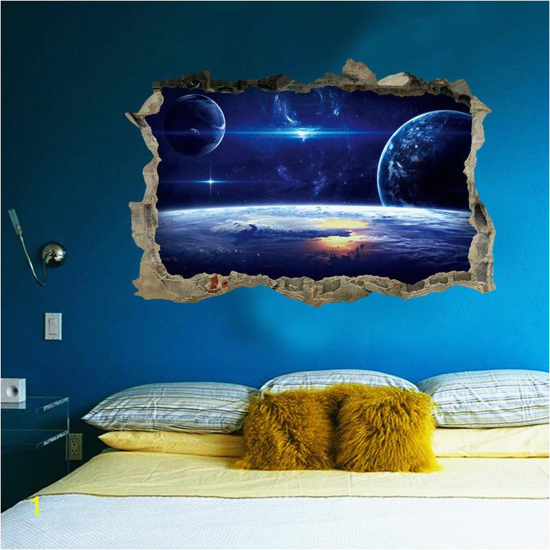 Space themed Wall Murals 2017 New 3d Planets Broken Wall Mural Space Landscape Wall