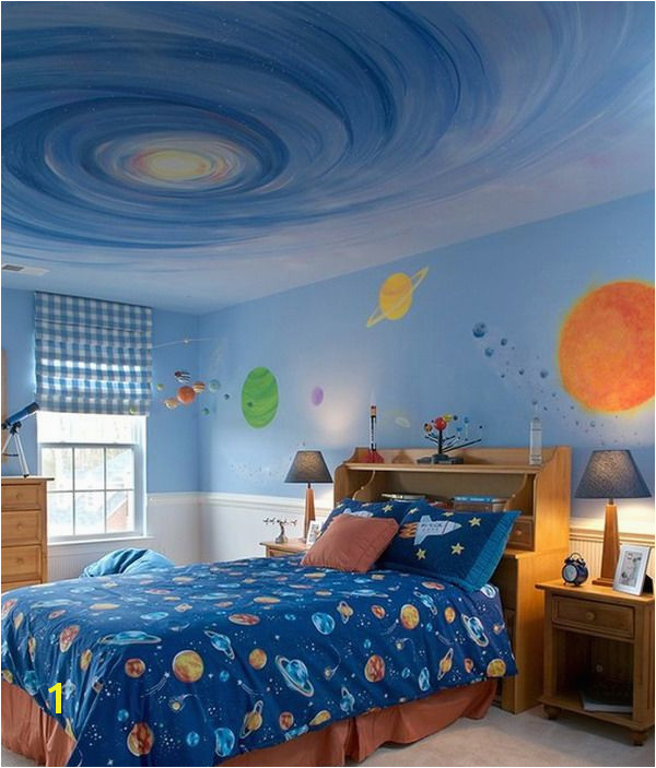 Awesome Kids Galaxy Bedroom Wall Murals Theme Painting
