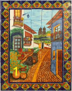 Spanish ceramic tile mural for a kitchen backsplash tabletop or wall from Mexico Tile