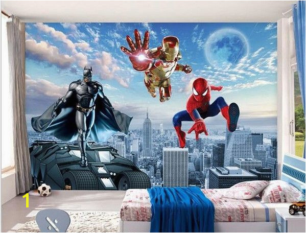 3D Batman Spiderman Iron Man Superhero 3D photo wallpaper